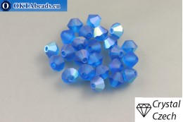 Preciosa Crystal Bicone - Capri Blue Matt AB 4mm, 24pc 4PRcrys120