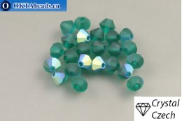 Preciosa Crystal Bicone - Emerald Matt AB 4mm, 24pc 4PRcrys124