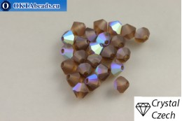 Preciosa Crystal Bicone - Smoked Topaz Matt AB 4mm, 24pc 4PRcrys129