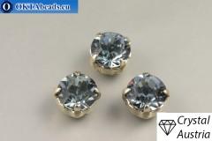 Пришивные шатоны 1028 Сваровски в цапах Indian Sapphire - Платина ss39/8,4мм, 1шт