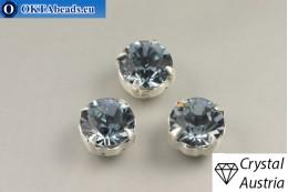 Пришивные шатоны 1028 Сваровски в цапах Indian Sapphire - Серебро ss39/8,4мм, 1шт SW_chat_025