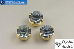Пришивные шатоны 1028 Сваровски в цапах Indian Sapphire - Золото ss39/8,4мм, 1шт