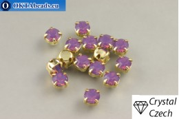 Sew on Preciosa chaton Maxima in set Amethyst Opal - Gold ss16/4mm, 15pc PR_chat_281