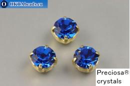 Našívací šaton Preciosa Maxima v kotlíku Capri Blue - Gold ss39/8,4mm, 1ks PR_chat_217