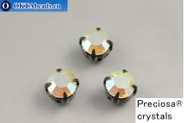Sew on Preciosa chaton Maxima in set Chrysolite Opal AB - Black ss34/7,25mm, 1pc PR_chat_107