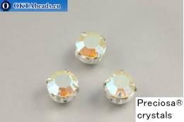 Sew on Preciosa chaton Maxima in set Chrysolite Opal AB - Silver ss34/7,25mm, 1pc PR_chat_104