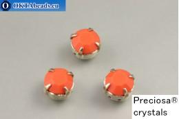 Sew on Preciosa chaton Maxima in set Coral - Platina ss34/7,25mm, 1pc PR_chat_150