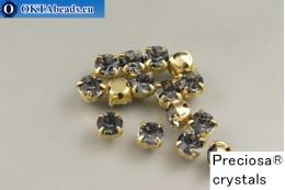 Našívací šaton Preciosa Maxima v kotlíku Crystal Nightfall - Gold ss16/4mm, 15ks PR_chat_274