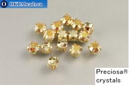 Našívací šaton Preciosa Maxima v kotlíku Crystal Sunrise - Gold ss16/4mm, 15ks PR_chat_275
