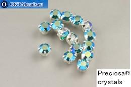 Našívací šaton Preciosa Maxima v kotlíku Emerald AB - Silver ss16/4mm, 15ks PR_chat_291