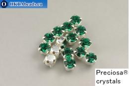 Našívací šaton Preciosa Maxima v kotlíku Emerald - Silver ss16/4mm, 15ks PR_chat_285