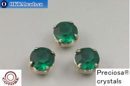 Пришивные шатоны Прециоза в цапах + COTOBE покрытие Emerald Matt - Платина ss39/8,4мм, 1шт CT-PR-39-EMR-F-P