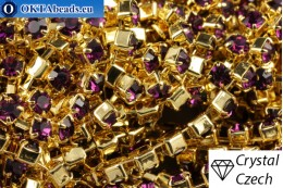 Strass chain Preciosa Maxima Amethyst - Gold 24kt ss12/3,2mm, 10cm PR_rtz_009