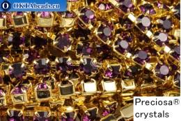 Strass chain Preciosa Maxima Amethyst - Gold 24kt ss16/4mm, 10cm PR_rtz_021