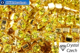 Strass chain Preciosa Maxima Citrine - Gold 24kt ss16/4mm, 10cm PR_rtz_036