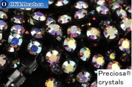 Štrasový řetízek Preciosa Maxima Crystal AB - Black ss16/4mm, 10cm PR_rtz_038