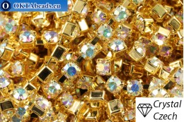 Strass chain Preciosa Maxima Crystal AB - Gold 24kt ss12/3,2mm, 10cm PR_rtz_006