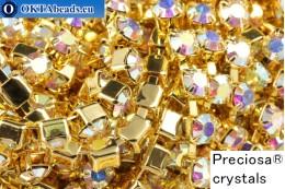 Стразовая цепочка Прециоза Максима Crystal AB - Золото 24кт ss16/4мм, 10см PR_rtz_039