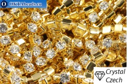 Стразовая цепочка Прециоза Максима Crystal - Золото 24кт ss12/3,2мм, 10см PR_rtz_003
