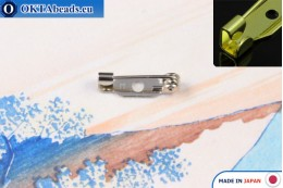 Bižuterní brožový můstek Japonsko Nikl 15mm, 1ks JBP009