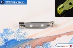 Bižuterní brožový můstek Japonsko Nikl 25mm, 1ks JBP005