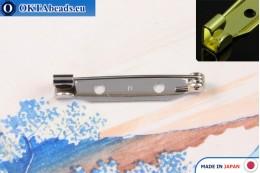 Bižuterní brožový můstek Japonsko Nikl 30mm, 1ks JBP016