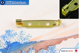Jewellery brooch pin bar Japan Gold 30mm, 1pc JBP017