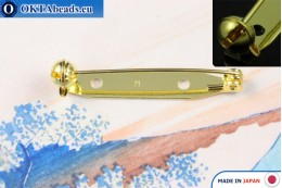 Jewellery brooch pin bar Japan Gold 35mm, 1pc JBP004