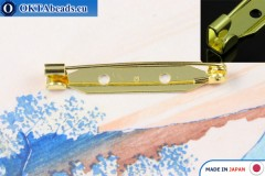 Bižuterní brožový můstek Japonsko Zlato 35mm, 1ks JBP008