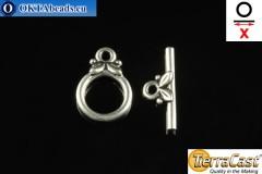 TierraCast Замок-тогл серебро (6039-12) X=16мм, 10мм TK-0004