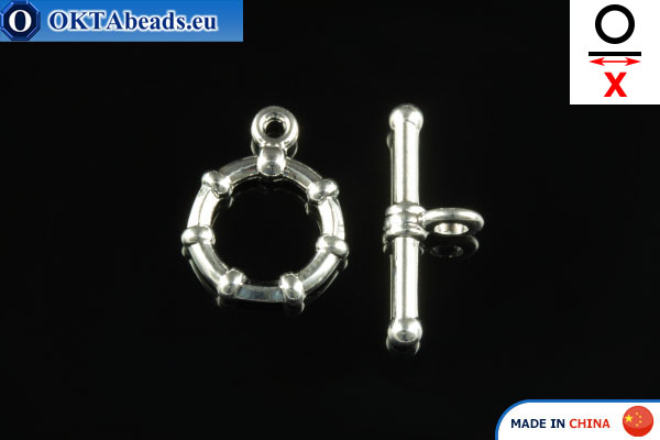 Замок-тогл серебро X=19мм, 12мм FCH-0002
