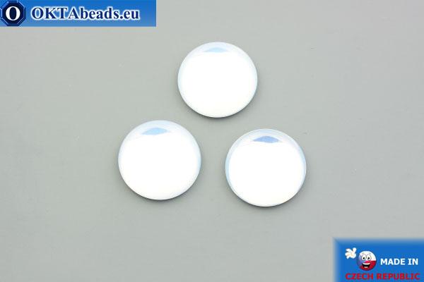 Чешский стеклянный кабошон белый опал 18мм, 1шт GC040