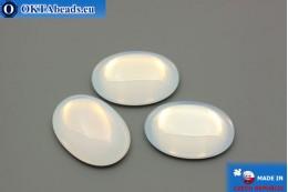 Czech glass cabochon white opal 25x18mm, 1pc GC013