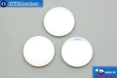 Чешский стеклянный кабошон белый опал 25мм, 1шт