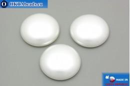 Czech glass cabochon white pearl 25mm, 1pc GC007