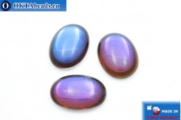 Чешский стеклянный кабошон фиолетовый - синий 25х18мм, 1шт GC012