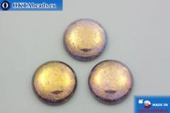 Чешский стеклянный кабошон фиолетовый золотой глянец 25мм, 1шт