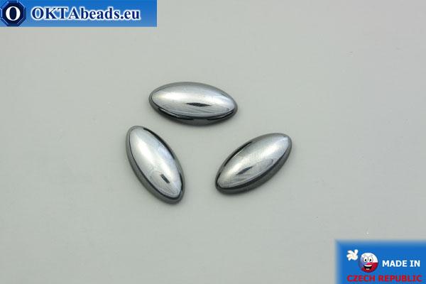 Czech glass cabochon hematite 20x10 mm, 1pc GC052