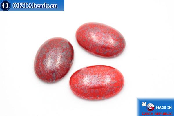Český skleněný kabošon červený stříbro 25x18mm, 1ks GC020