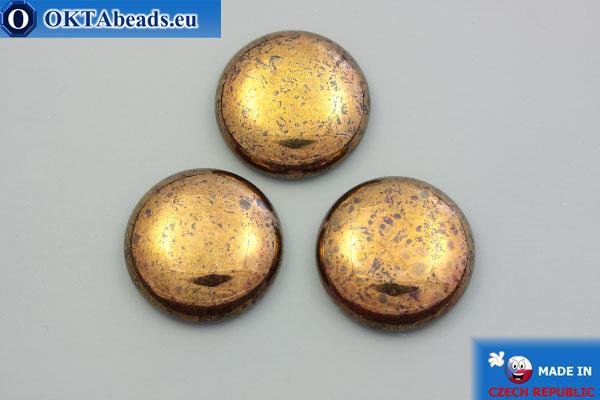 Чешский стеклянный кабошон красный золотой глянец 25мм, 1шт GC027