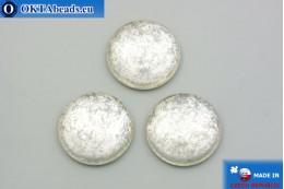 Czech glass cabochon crystal silver 25mm, 1pc GC032