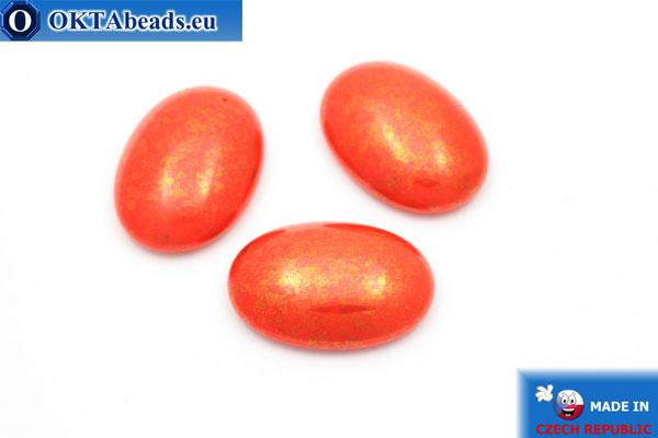 Český skleněný kabošon oranžový zlato 25x18mm, 1ks GC019