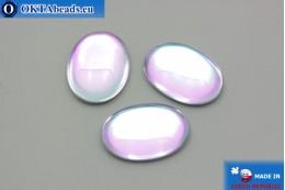 Чешский стеклянный кабошон розовый - светло синий 25х18мм, 1шт GC010