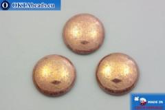 Чешский стеклянный кабошон розовый золотой глянец 25мм, 1шт