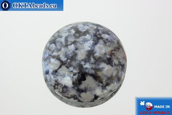 Český skleněný kabošon šedý 24mm, 1ks OK-GC89250-24