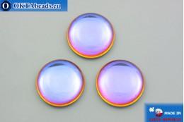 Czech glass cabochon blue orange 25mm, 1pc GC038