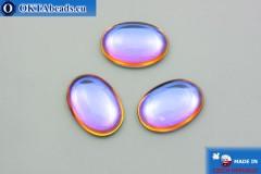 Český skleněný kabošon modrý oranžový 25x18 mm, 1ks