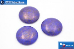 Czech glass cabochon blue gold 24mm, 1pc GC001