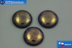 Чешский стеклянный кабошон синий золото 25мм, 1шт