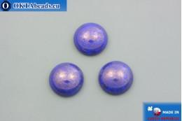 Czech glass cabochon blue gold luster 18mm, 1pc GC031